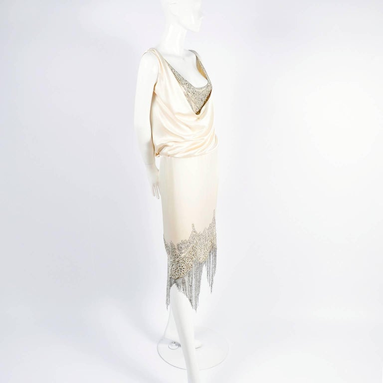 Alexander McQueen Ivory Silk Embroidered Beaded Dress with Fringe, 2007  For Sale 4