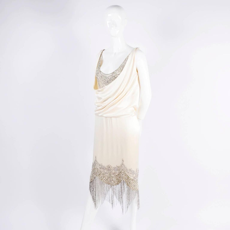 Beige Alexander McQueen Ivory Silk Embroidered Beaded Dress with Fringe, 2007  For Sale