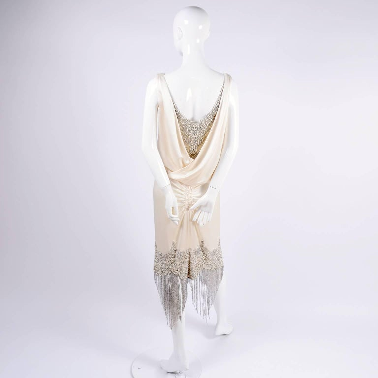 Alexander McQueen Ivory Silk Embroidered Beaded Dress with Fringe, 2007  For Sale 8