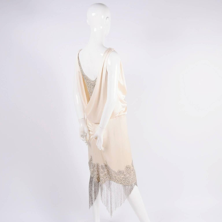 Alexander McQueen Ivory Silk Embroidered Beaded Dress with Fringe, 2007  For Sale 5