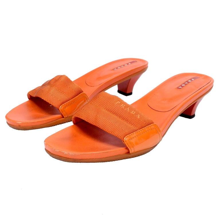 Orange Prada Shoes Slip on Summer Sandals Size 38 Logo Webbing & Rubber Soles