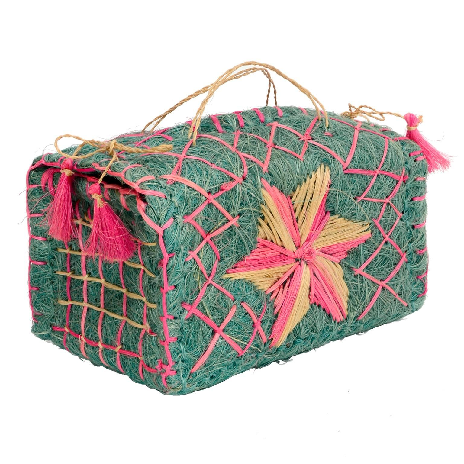 1stdibs Vintage Straw & Raffia Pink & Green Box Style Handbag W/ Pink Tassels GIYtGR