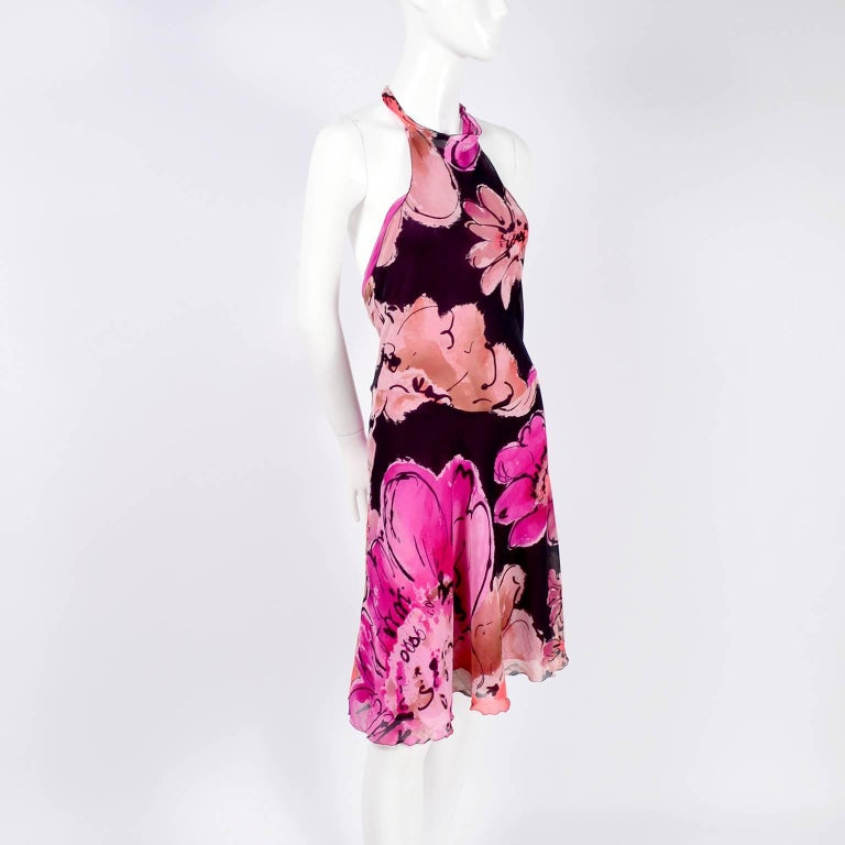 Gianni Versace Couture Silk Bias Halter Dress With Slits and Bold Flowers, 1990s For Sale 6