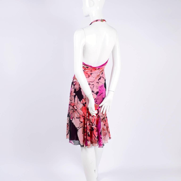 Gianni Versace Couture Silk Bias Halter Dress With Slits and Bold Flowers, 1990s For Sale 5