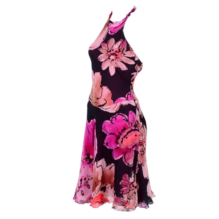 Gianni Versace Couture Silk Bias Halter Dress With Slits and Bold Flowers, 1990s For Sale
