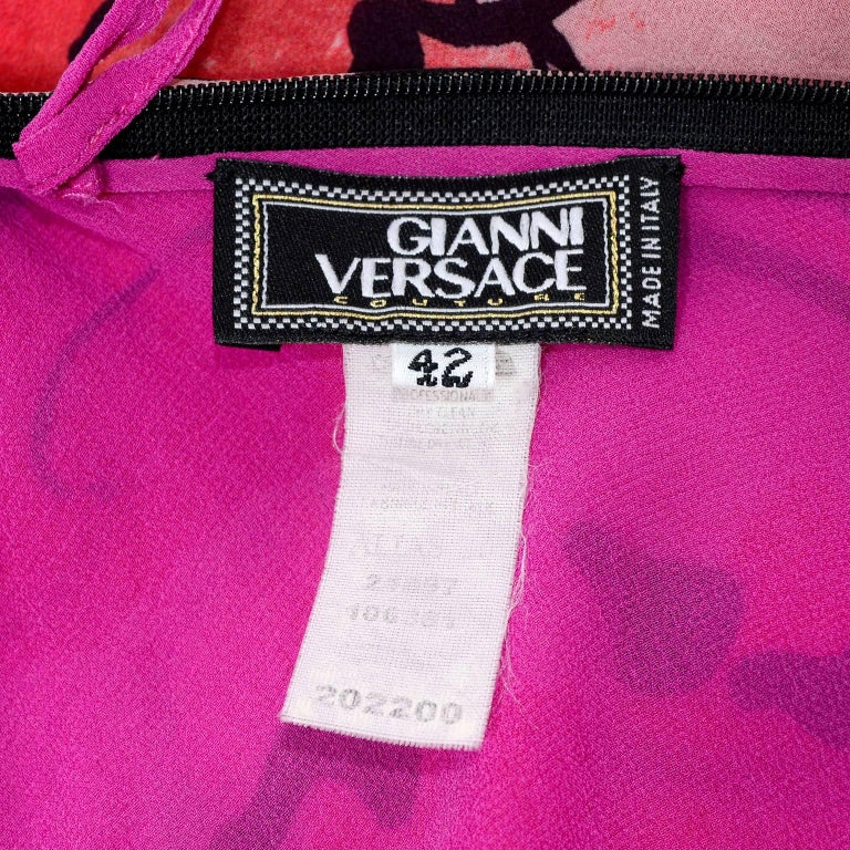 Gianni Versace Couture Silk Bias Halter Dress With Slits and Bold Flowers, 1990s For Sale 4