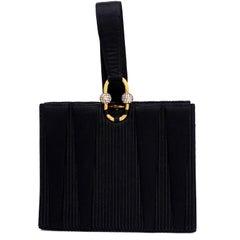 Vintage Custom Martin Van Schaak Black Satin Top Handle Handbag Evening Bag