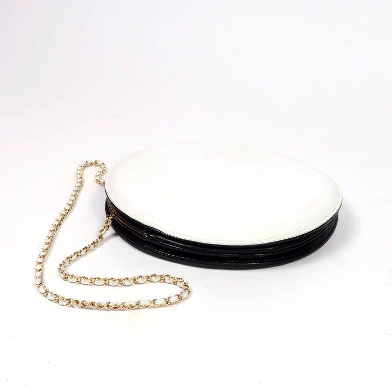Rare Chanel Round Black & White Lambskin Handbag Circle Shoulder Bag or Clutch  For Sale 3