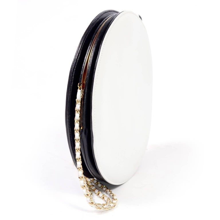 Rare Chanel Round Black & White Lambskin Handbag Circle Shoulder Bag or Clutch  For Sale 2