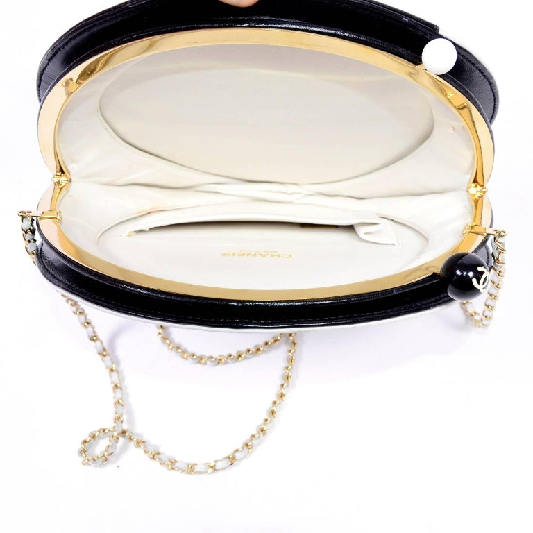 Rare Chanel Round Black & White Lambskin Handbag Circle Shoulder Bag or Clutch  For Sale 1