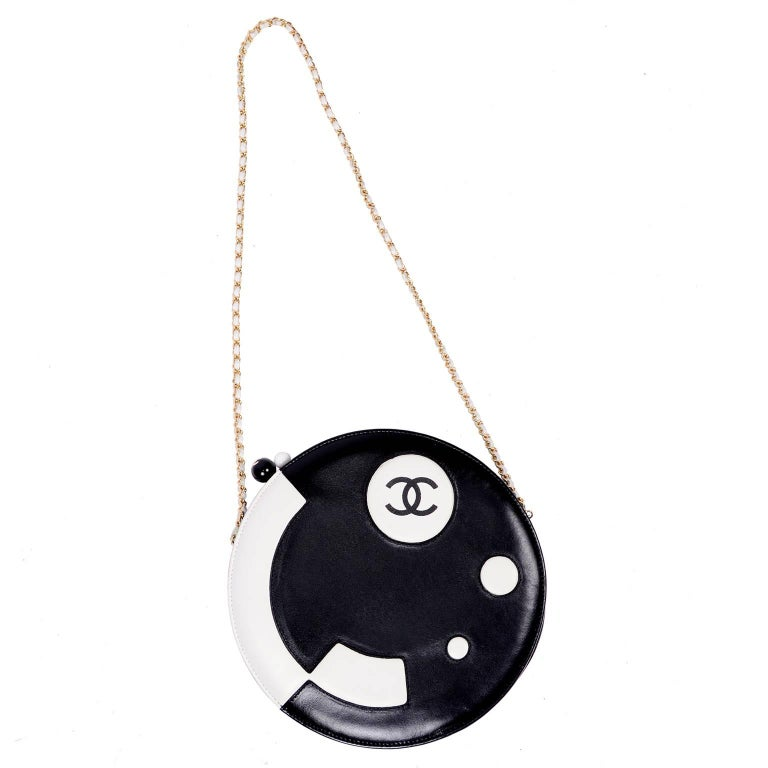 Rare Chanel Round Black & White Lambskin Handbag Circle Shoulder Bag or Clutch  For Sale 9