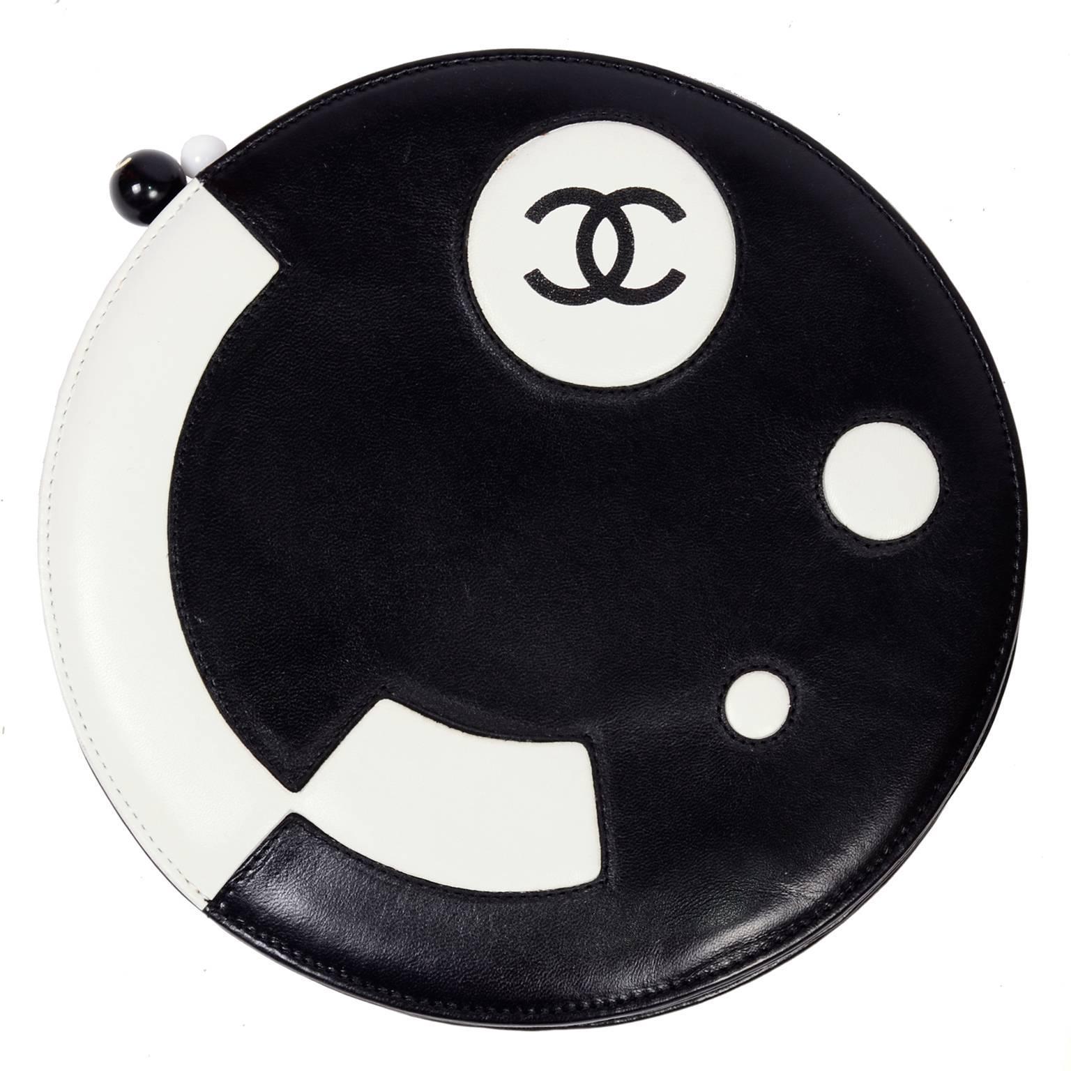 Rare Chanel Round Black & White Lambskin Handbag Circle Shoulder Bag or Clutch
