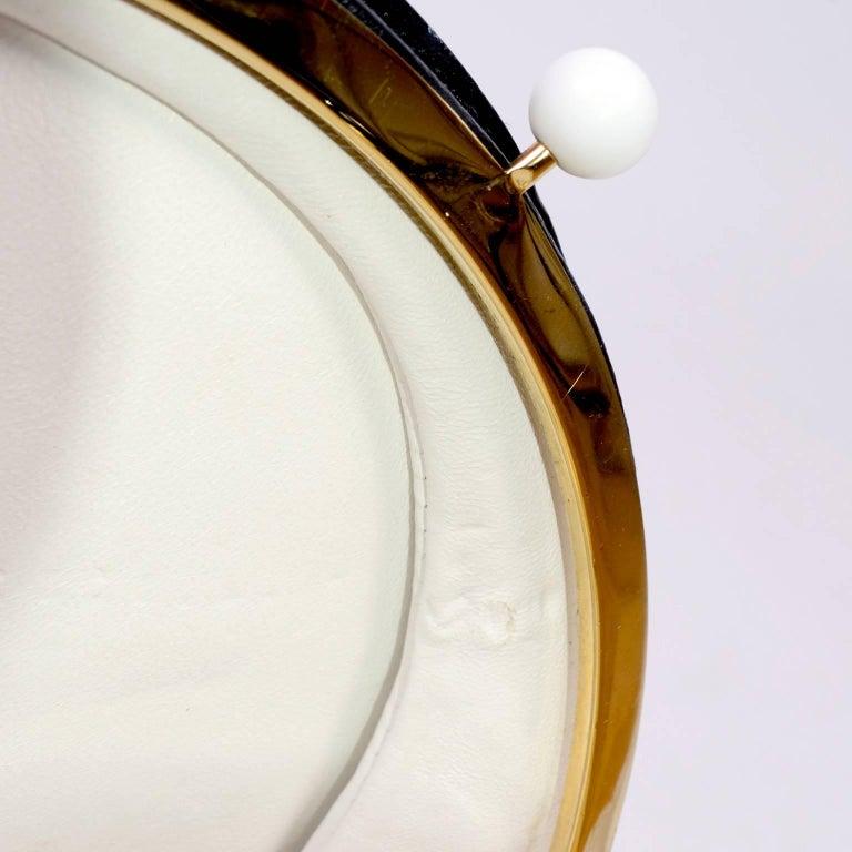 Rare Chanel Round Black & White Lambskin Handbag Circle Shoulder Bag or Clutch  For Sale 7