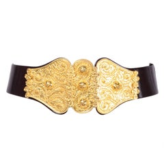 1980s Judith Leiber Black Leather Belt With Gold Buckle & Adjustable Size