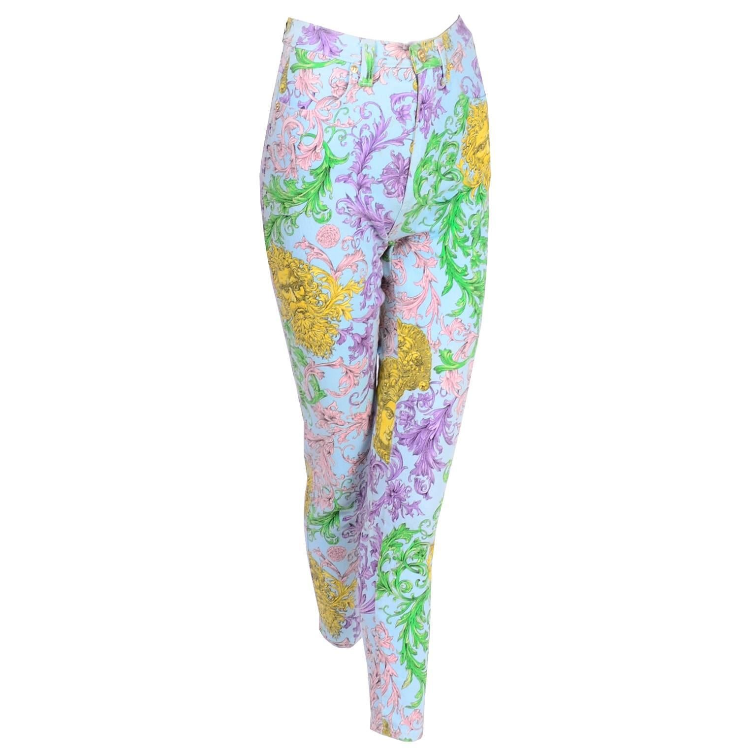 726051335a9f Gianni Versace Jeans Couture Acanthus Pattern Medusa Head Vintage Pants  Size 2 at 1stdibs