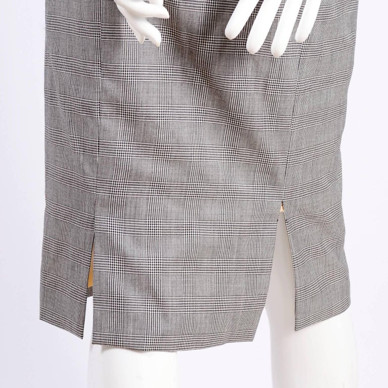 Versace Strapless Runway Dress in Houndstooth Plaid, Spring 1998 For Sale 1