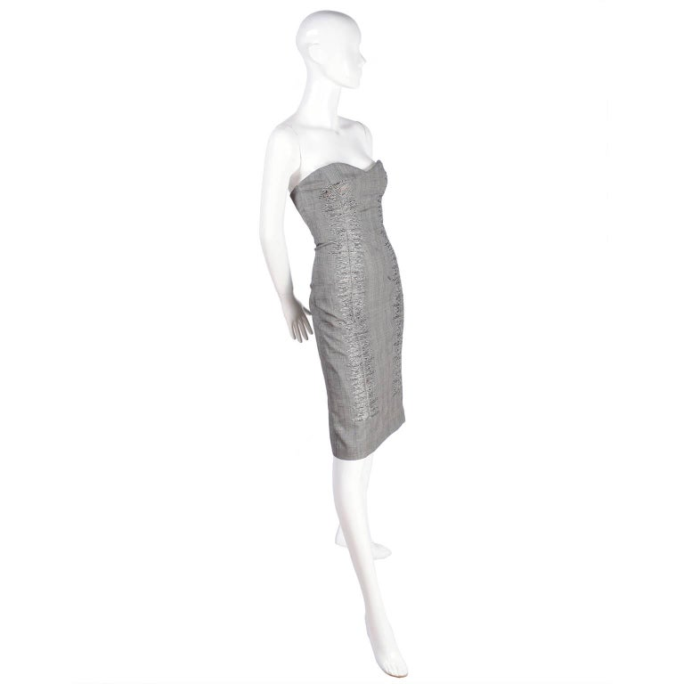 Gray Versace Strapless Runway Dress in Houndstooth Plaid, Spring 1998 For Sale