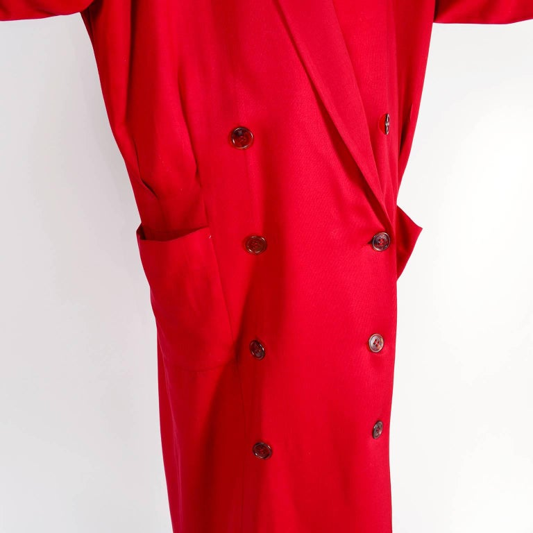 1980s Norma Kamali Red Coat Oversized Double Breasted With Pockets Size 8 For Sale 3