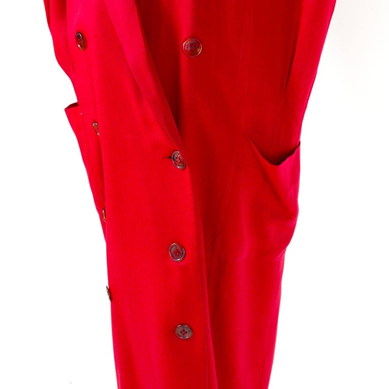 1980s Norma Kamali Red Coat Oversized Double Breasted With Pockets Size 8 For Sale 1
