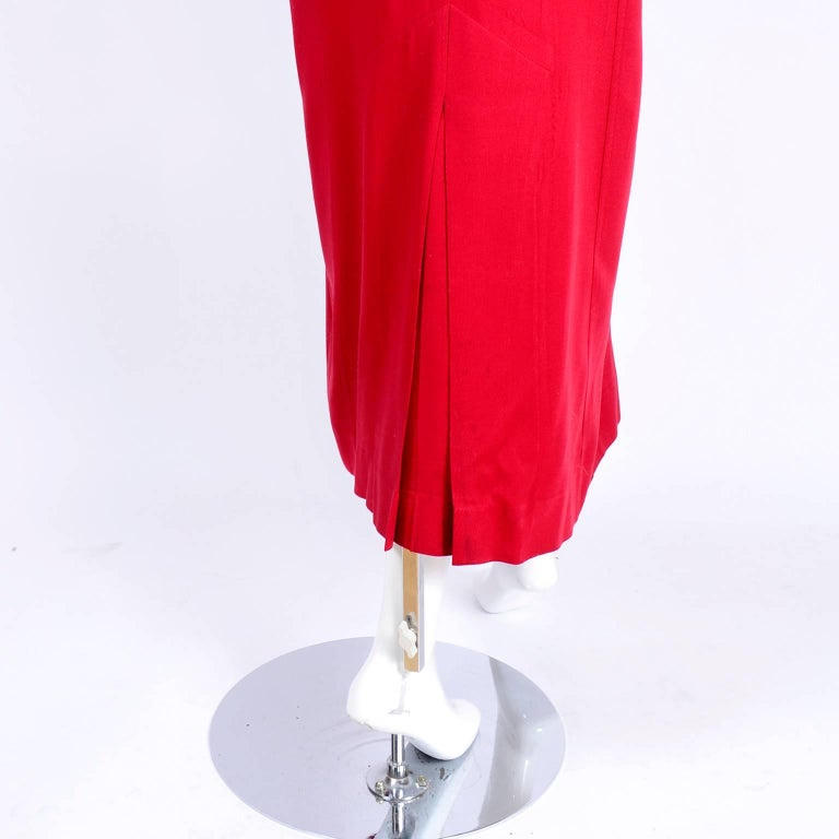 1980s Norma Kamali Red Coat Oversized Double Breasted With Pockets Size 8 For Sale 2