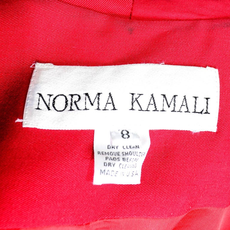 1980s Norma Kamali Red Coat Oversized Double Breasted With Pockets Size 8 For Sale 5