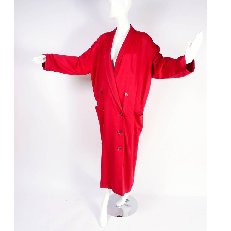 1980s Norma Kamali Red Coat Oversized Double Breasted With Pockets Size 8 For Sale 4
