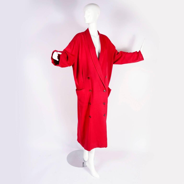 1980s Norma Kamali Red Coat Oversized Double Breasted With Pockets Size 8 For Sale 6