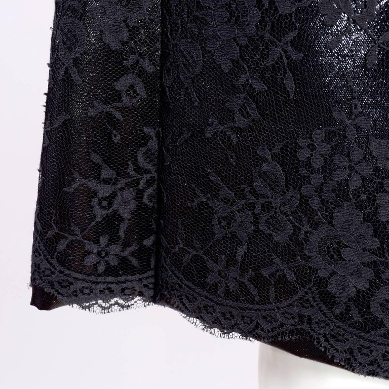 Gianni Versace Black Lace Metallic Satin Dress with Medusa Buckles / Tags, 1996 For Sale 1