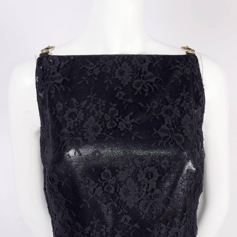 Gianni Versace Black Lace Metallic Satin Dress with Medusa Buckles / Tags, 1996 For Sale 3