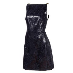 Gianni Versace Black Lace Metallic Satin Dress with Medusa Buckles / Tags, 1996