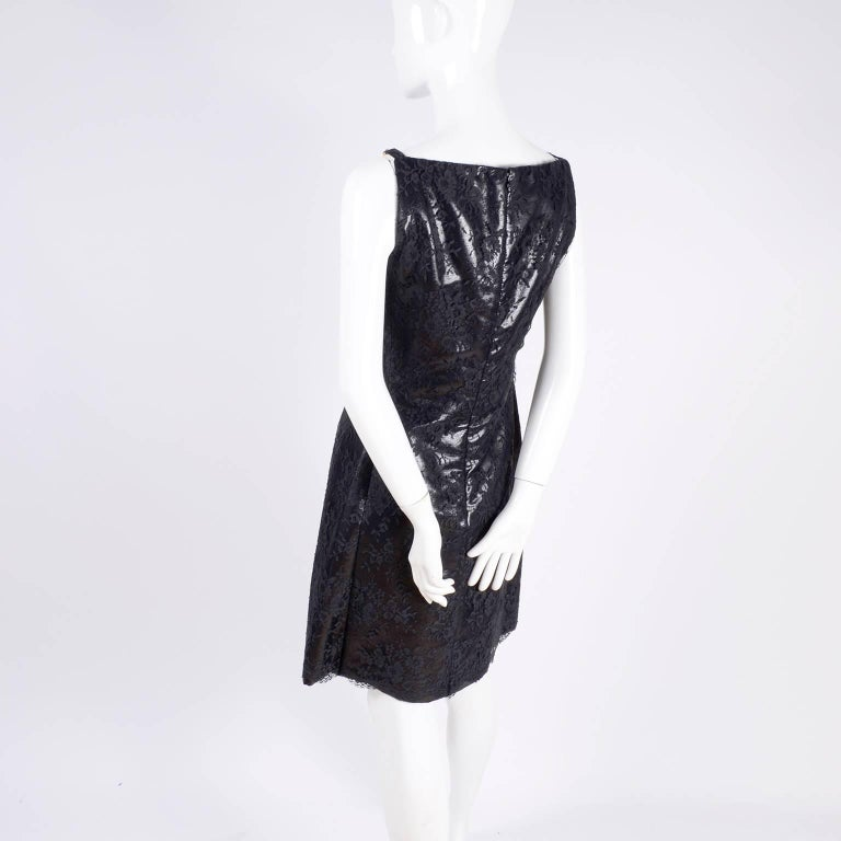 Gianni Versace Black Lace Metallic Satin Dress with Medusa Buckles / Tags, 1996 For Sale 4