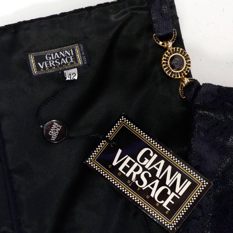 Gianni Versace Black Lace Metallic Satin Dress with Medusa Buckles / Tags, 1996 For Sale 7