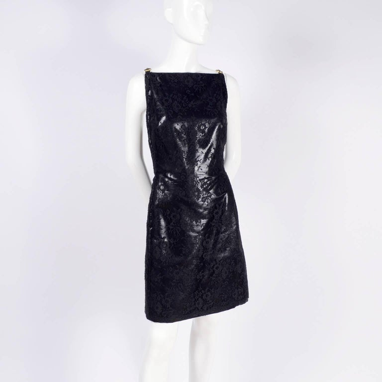 Gianni Versace Black Lace Metallic Satin Dress with Medusa Buckles / Tags, 1996 For Sale 8