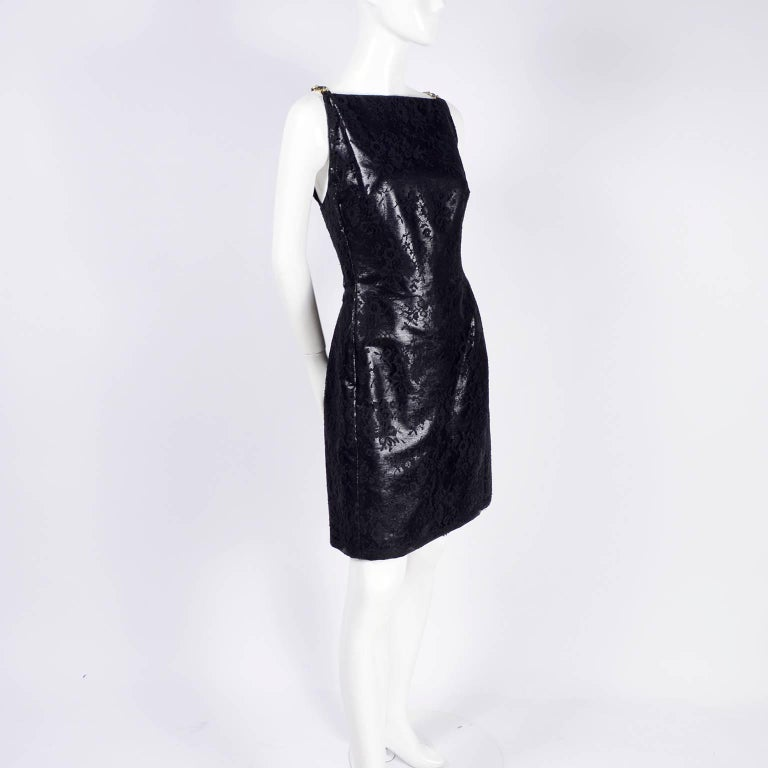 Gianni Versace Black Lace Metallic Satin Dress with Medusa Buckles / Tags, 1996 In New Condition For Sale In Portland, OR