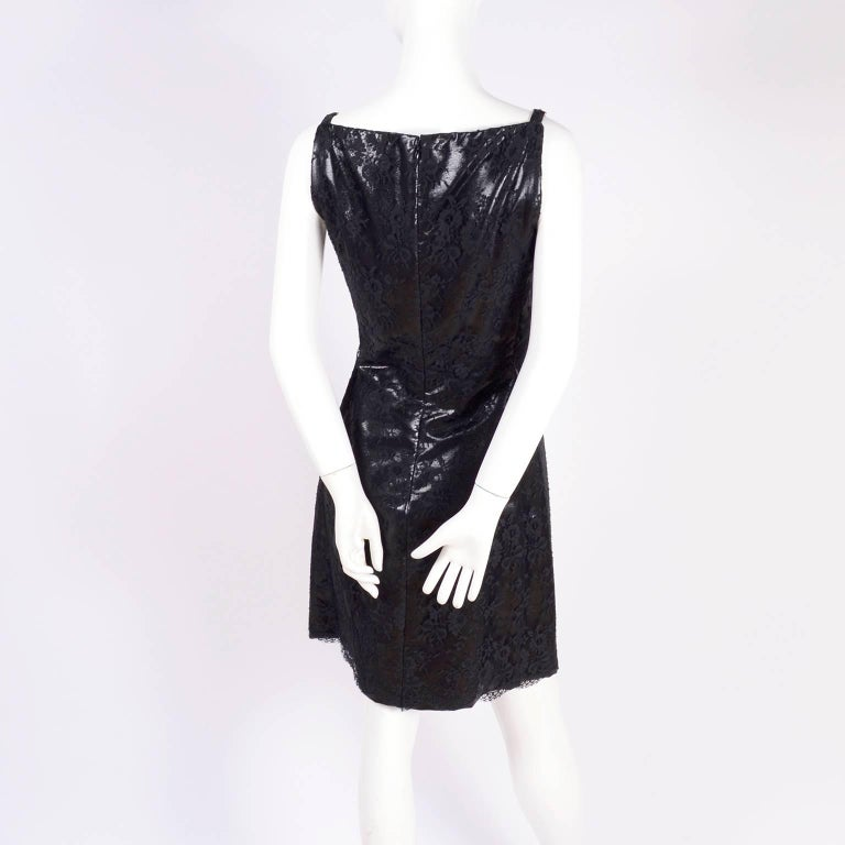 Women's Gianni Versace Black Lace Metallic Satin Dress with Medusa Buckles / Tags, 1996 For Sale
