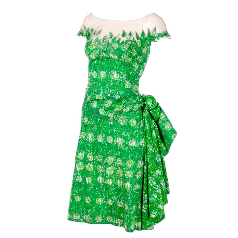 1950s Vintage Peggy Hunt Dress in Green Print W Leaf Applque & Illusion Bodice