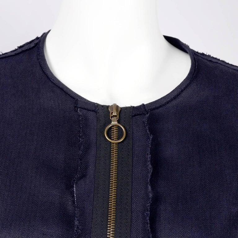 Women's Lanvin Dress in Indigo Blue Linen  w/ Exposed Seams Alber Elbaz For Sale