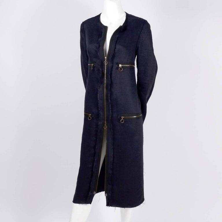 Lanvin Dress in Indigo Blue Linen  w/ Exposed Seams Alber Elbaz In Excellent Condition For Sale In Portland, OR