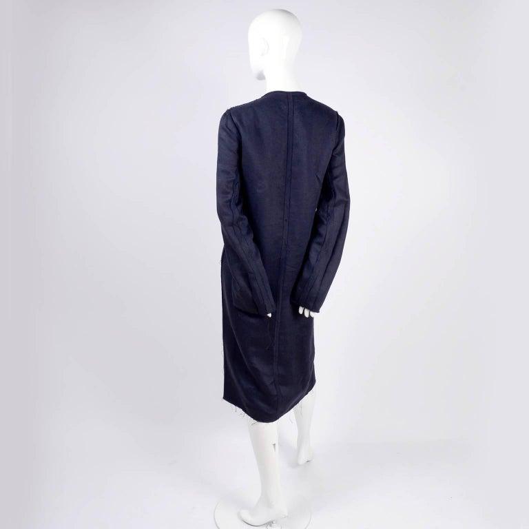 Lanvin Dress in Indigo Blue Linen  w/ Exposed Seams Alber Elbaz For Sale 3
