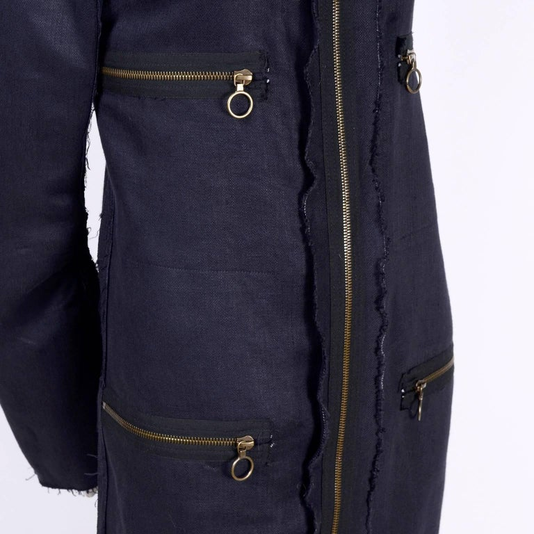 Lanvin Dress in Indigo Blue Linen  w/ Exposed Seams Alber Elbaz For Sale 4
