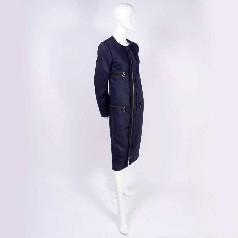 Lanvin Dress in Indigo Blue Linen  w/ Exposed Seams Alber Elbaz For Sale 2