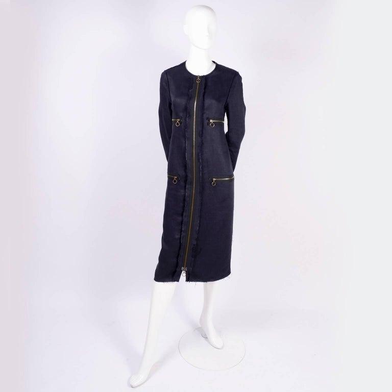 Lanvin Dress in Indigo Blue Linen  w/ Exposed Seams Alber Elbaz For Sale 8