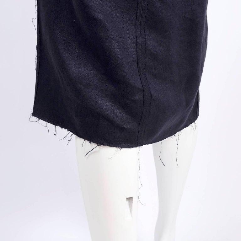 Lanvin Dress in Indigo Blue Linen  w/ Exposed Seams Alber Elbaz For Sale 6