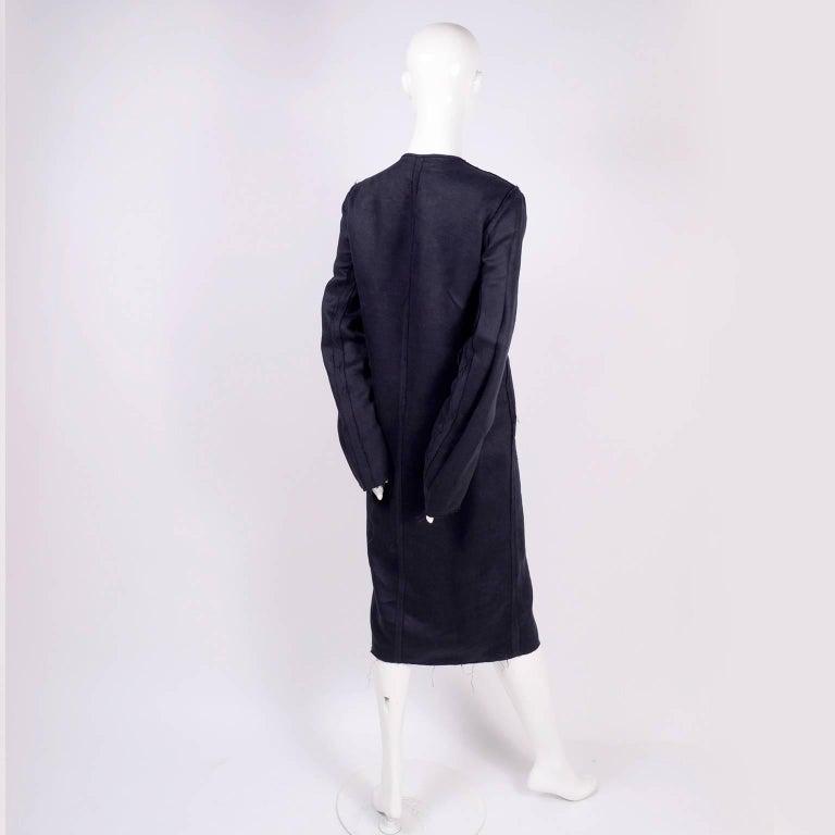 Lanvin Dress in Indigo Blue Linen  w/ Exposed Seams Alber Elbaz For Sale 5