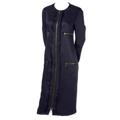 Lanvin Dress or Coat in Indigo Blue Linen w/ Exposed Seams & Raw Hem Alber Elbaz
