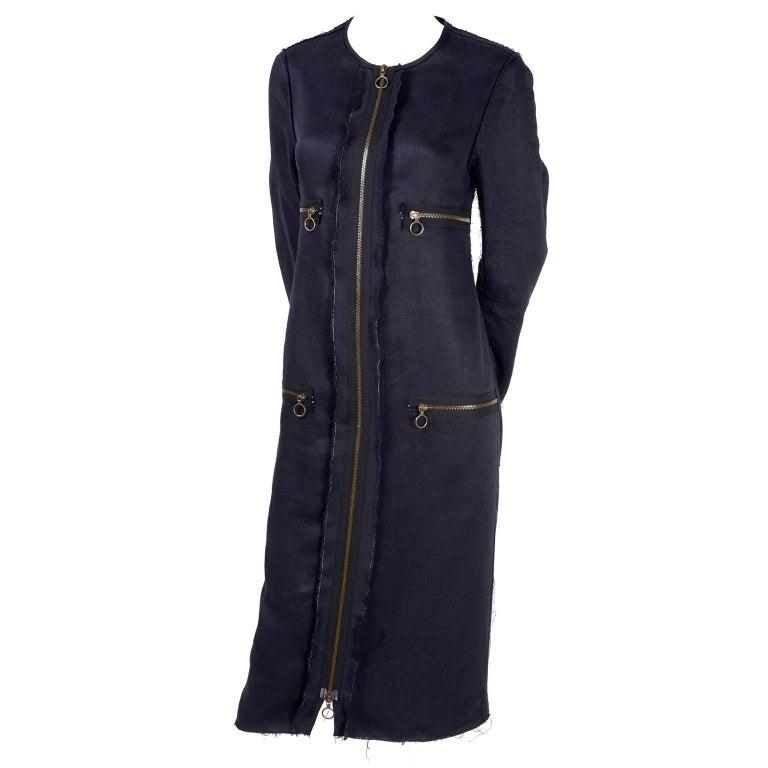 Lanvin Dress in Indigo Blue Linen  w/ Exposed Seams Alber Elbaz For Sale