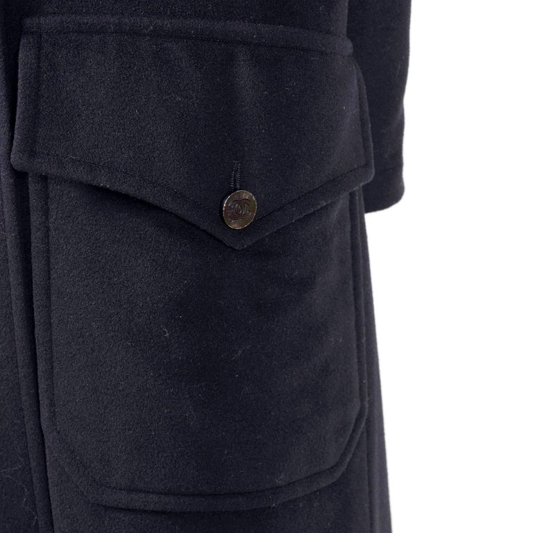 Chanel Wool and Cashmere Coat with CC Monogram Buttons, 1998  In Excellent Condition For Sale In Portland, OR