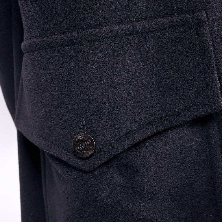Chanel Wool and Cashmere Coat with CC Monogram Buttons, 1998  For Sale 1