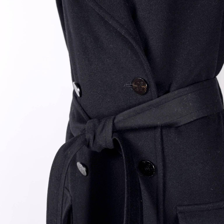 Chanel Wool and Cashmere Coat with CC Monogram Buttons, 1998  For Sale 4