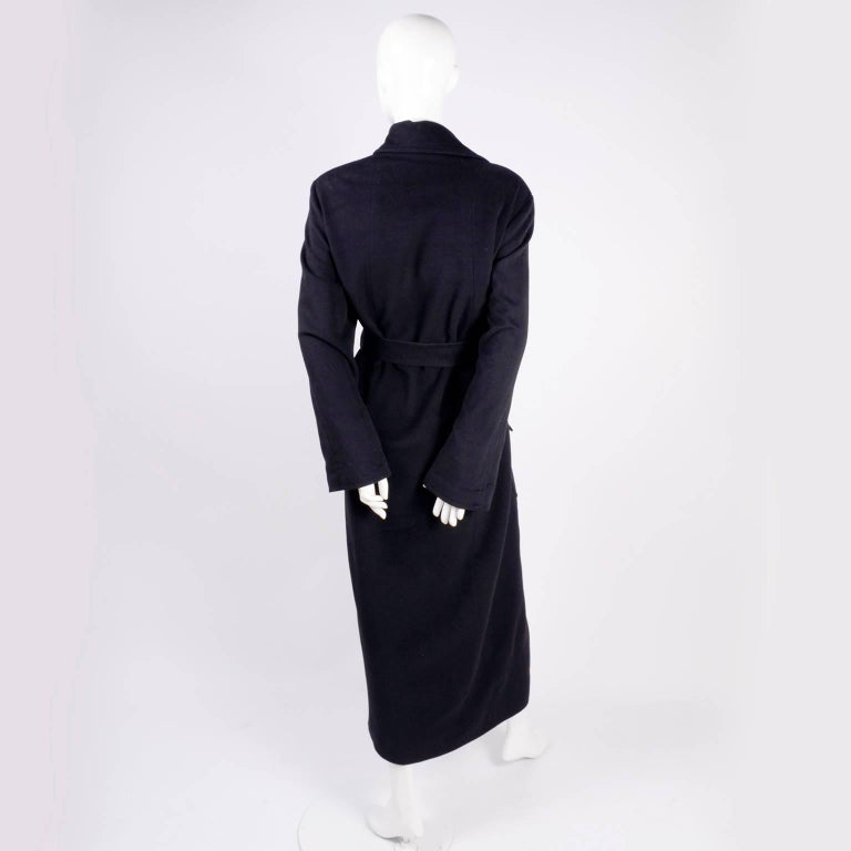Black Chanel Wool and Cashmere Coat with CC Monogram Buttons, 1998  For Sale